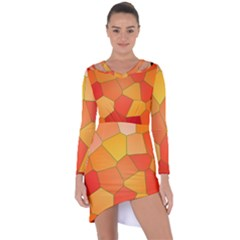 Background Pattern Orange Mosaic Asymmetric Cut Out Shift Dress