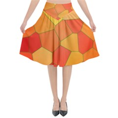 Background Pattern Orange Mosaic Flared Midi Skirt