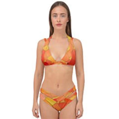 Background Pattern Orange Mosaic Double Strap Halter Bikini Set by Mariart