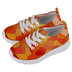 Background Pattern Orange Mosaic Kids  Lightweight Sports Shoes by Mariart