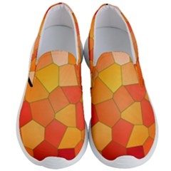 Background Pattern Orange Mosaic Men s Lightweight Slip Ons