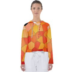 Background Pattern Orange Mosaic Women s Slouchy Sweat