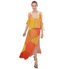 Background Pattern Orange Mosaic Maxi Chiffon Cover Up Dress