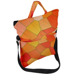 Background Pattern Orange Mosaic Fold Over Handle Tote Bag by Mariart