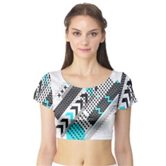 Green Geometric Abstract Short Sleeve Crop Top