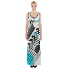 Green Geometric Abstract Maxi Thigh Split Dress by Mariart