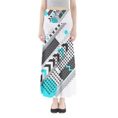 Green Geometric Abstract Full Length Maxi Skirt by Mariart