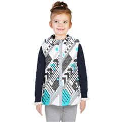 Green Geometric Abstract Kid s Hooded Puffer Vest