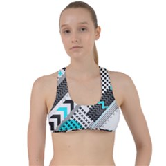 Green Geometric Abstract Criss Cross Racerback Sports Bra by Mariart