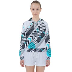Green Geometric Abstract Women s Tie Up Sweat