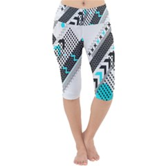 Green Geometric Abstract Lightweight Velour Cropped Yoga Leggings