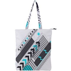 Green Geometric Abstract Double Zip Up Tote Bag