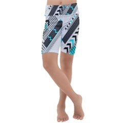 Green Geometric Abstract Kids  Lightweight Velour Cropped Yoga Leggings by Mariart