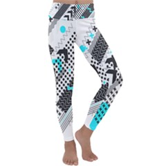Green Geometric Abstract Kids  Lightweight Velour Classic Yoga Leggings by Mariart