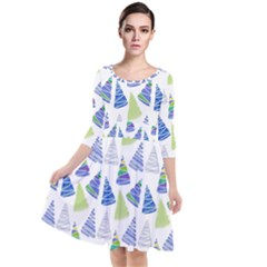 Christmas Pattern Background Quarter Sleeve Waist Band Dress