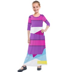 Geometric Shape Kids  Quarter Sleeve Maxi Dress
