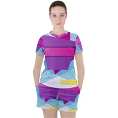Geometric Shape Women s Tee And Shorts Set