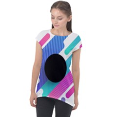 Cool Geometric Combination Of Decorative Circular Vector Background Cap Sleeve High Low Top