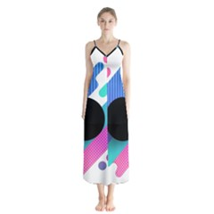 Cool Geometric Combination Of Decorative Circular Vector Background Button Up Chiffon Maxi Dress