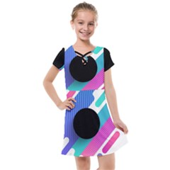 Cool Geometric Combination Of Decorative Circular Vector Background Kids  Cross Web Dress by AnjaniArt