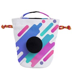 Cool Geometric Combination Of Decorative Circular Vector Background Drawstring Bucket Bag