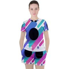 Cool Geometric Combination Of Decorative Circular Vector Background Women s Tee And Shorts Set