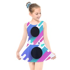 Cool Geometric Combination Of Decorative Circular Vector Background Kids  Skater Dress Swimsuit by AnjaniArt