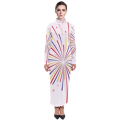 Graphic Fireworks Decorative Turtleneck Maxi Dress by AnjaniArt