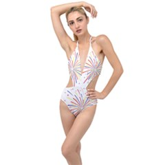 Graphic Fireworks Decorative Plunging Cut Out Swimsuit
