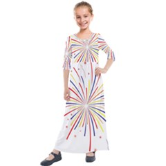 Graphic Fireworks Decorative Kids  Quarter Sleeve Maxi Dress by AnjaniArt