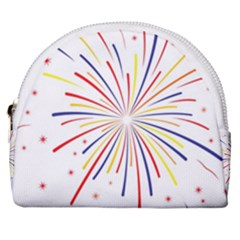 Graphic Fireworks Decorative Horseshoe Style Canvas Pouch