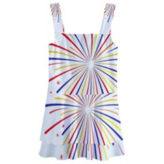 Graphic Fireworks Decorative Kids  Layered Skirt Swimsuit