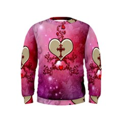 Wonderful Hearts With Floral Elements Kids  Sweatshirt
