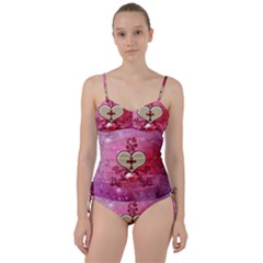 Wonderful Hearts With Floral Elements Sweetheart Tankini Set
