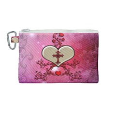 Wonderful Hearts With Floral Elements Canvas Cosmetic Bag (medium) by FantasyWorld7