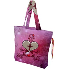 Wonderful Hearts With Floral Elements Drawstring Tote Bag