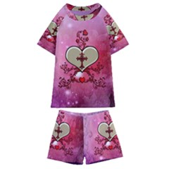 Wonderful Hearts With Floral Elements Kids  Swim Tee And Shorts Set by FantasyWorld7