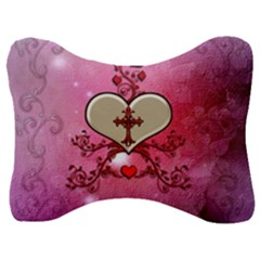 Wonderful Hearts With Floral Elements Velour Seat Head Rest Cushion by FantasyWorld7