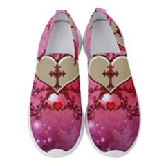Wonderful Hearts With Floral Elements Women s Slip On Sneakers by FantasyWorld7