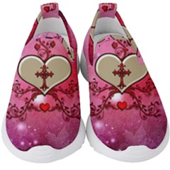 Wonderful Hearts With Floral Elements Kids  Slip On Sneakers by FantasyWorld7