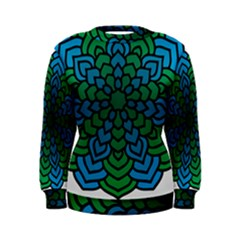 Green Blue Mandala Vector Women s Sweatshirt by Alisyart