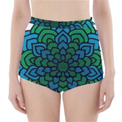 Green Blue Mandala Vector High Waisted Bikini Bottoms