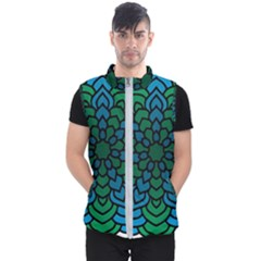 Green Blue Mandala Vector Men s Puffer Vest