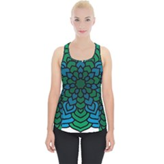 Green Blue Mandala Vector Piece Up Tank Top