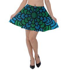 Green Blue Mandala Vector Velvet Skater Skirt