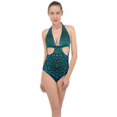 Green Blue Mandala Vector Halter Front Plunge Swimsuit by Alisyart