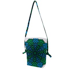 Green Blue Mandala Vector Folding Shoulder Bag by Alisyart