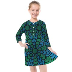 Green Blue Mandala Vector Kids  Quarter Sleeve Shirt Dress