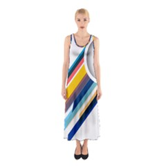 Vector Geometric Polygons And Circles Sleeveless Maxi Dress