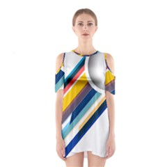 Vector Geometric Polygons And Circles Shoulder Cutout One Piece Dress